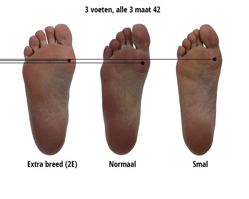brede voeten van extra breed naar smal